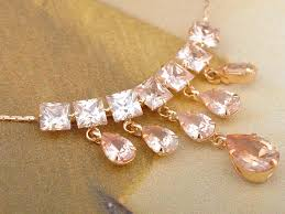 swarovski crystal necklace set images Rose gold tone pink geometric bib swarovski crystal element JPG