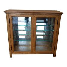 Small Glass Door Cabinet Small Scale Antique Quartered Oak Glass Door Curio Display Cabinet