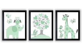 Giraffe Baby Decorations Nursery by Mint Green Grey Nursery Art Print Set Of 3 Elephant Owl Bird