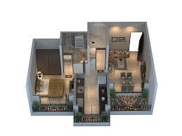 konark solitaire floor plan and 3d view of 1 2 bhk flats