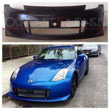 blue nissan 350z nismo style v2 poly front bumper nissan 350z u2013 outcast garage