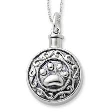 ashes necklace holder sterling silver antiqued paw ash holder 18in necklace forever in