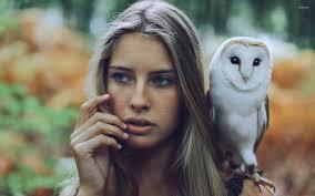 Owl Shoulder - with a barn owl on shoulder wallpaper wallpapers