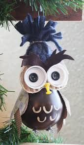 owl tree ornament made from a recycled lightbulb