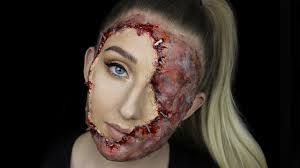 stapled on face gory halloween makeup tutorial youtube