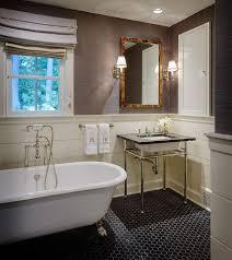 Bathroom With Black Walls Masculine Bathroom With Black Hex Floor Tiles Transitional