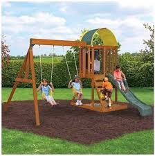 Backyard Swing Sets Canada Amazon Com Ready To Assemble Wooden Swing Set Cedar Wood