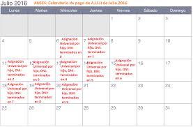 www anses calendario pago a jubilados pensionados 2016 calendario de pagos de julio de 2016 de la asignación universal por