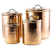 kitchen counter canisters canister set hammered copper 4 pc kitchen counter top storage