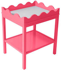 Pink Nightstand Side Table Scalloped Two Tier Lacquer Side Table Pink 16 Colors Available