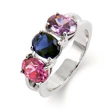 ring with birthstones crafted with 925 sterling silver the 3 oval cut custom
