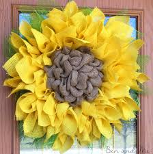 burlap sunflower wreath burlap and deco mesh sunflower wreath