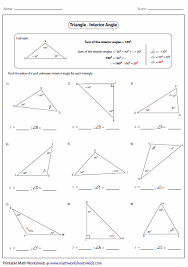 finding missing angles in triangles worksheet polygon exterior angle theorem exterior angle formula triangle