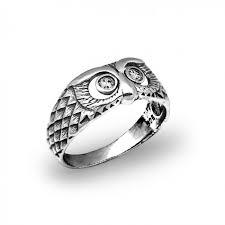 men ring owl bird white cz 925 sterling silver finger men ring 18 68