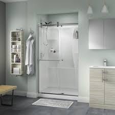 48 Inch Glass Shower Door Delta Portman 48 In X 71 In Semi Frameless Contemporary Sliding