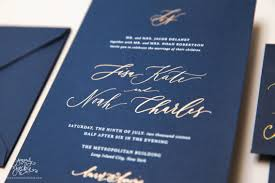 Navy Blue Wedding Invitations Port Invitation Silver And Blue Calligraphy Silk Screen By