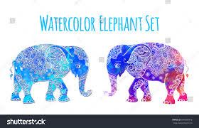 elephant color illustration vector set watercolor stock vector