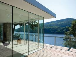architecture lovely lake house with glass fence also glass wall