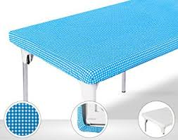 stay put table covers amazon com toptablecloth picnic table cover blue checkered elastic