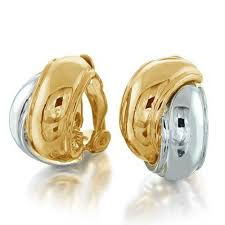 hoop clip on earrings gold silver tone interlocking circle huggie hoop clip on earrings
