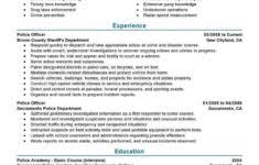 sample resume for security guard entry level and chief information
