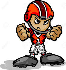 cartoon illustration of a football kid with hands in fists royalty