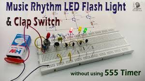 how to make clap switch rhythm led flash light circuit