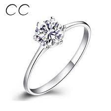 2pcs lot new arrival simple style ring cz men ring fashion engagement rings for women simple classic bague cc041 white gold