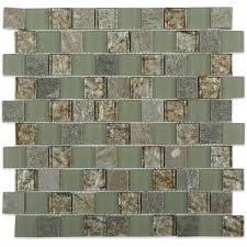splashback tile marina iridescent bricks white glass mosaic wall