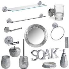 Cheap Bathroom Accessories by Silver Sparkle Bathroom Accessory Set Silver Mosaic Mirror