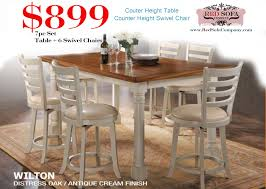 Dining Room Swivel Chairs Wilton 7pc Antique White Counter Height Dining Set With Swivel