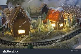 table top christmas decoration village lights stock photo 8182564