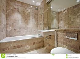 contemporary bathroom with natural stone tiles stock image image
