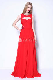 red chiffon keyhole neck odette annable a line long prom gown