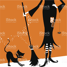 vintage halloween illustration halloween witch and black cat retro vintage illustration vector