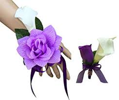 Corsage And Boutonniere Prices Buy Set Wrist Corsage And Boutonniere Pink Black Artificial