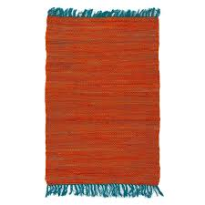 tapis de cuisine orange tapis tressé plat en coton bi couleur orange bleu 60x90cm color