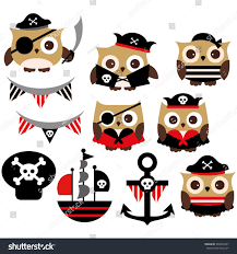 hipster halloween background cute pirate owls red black stock vector 209349937 shutterstock