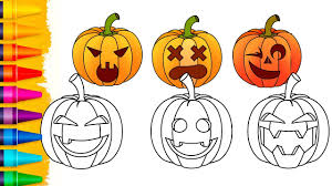 how to draw halloween pumpkin for baby fun coloring pages videos