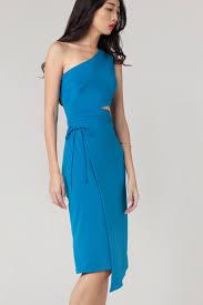 alyssa one shoulder cut out dress in azure blue u2022 juillet official