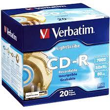 verbatim 700 mb 52x lightscribe gold recordable discs cd r 20