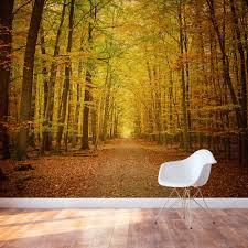 autumn forest path wall mural autumn path wall mural