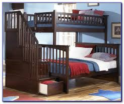 twin over full bunk bed with stairs and trundle bedroom home