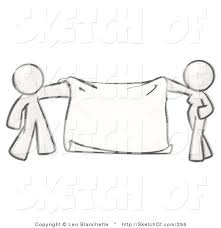 drawing of a sketched design mascot pair man and woman holding a