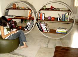 Bookcases As Room Dividers Unique Concrete Bookshelves Act As Room Dividers Freshome Com