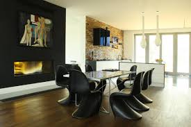 Dining Room Accent Wall by Dining Room Modern Dining Space Integrated With Kitchen
