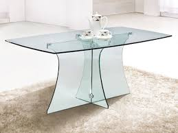 Rectangular Glass Top Dining Room Tables Outstanding Serene Rectangular Clear Glass Dining Table Design