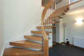 Open Staircase Ideas Wonderful Oak Unpolished Curved Open Staircase With Simplistic