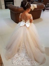 flower girl dress ericdress gown sleeves appliques tulle flower girl dress