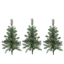outdoor christmas tree pack of 3 lighted christmas tree driveway or pathway markers